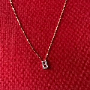 "Stella & Dot Covet Pavé ""B"" Initial Necklace- Gold"